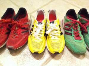 Dear red, after 1600 comeback kilometres you deserve a bath, then a long and happy retirement on the feet of someone in needs of shoes. Dear green, you have given me 5K, 10K, 10-mile, Half Marathon, 30K, and Marathon PBs… they will need to pry you from my death grip because I am never giving you up. Dear yellow, we're off to a wonderful start.